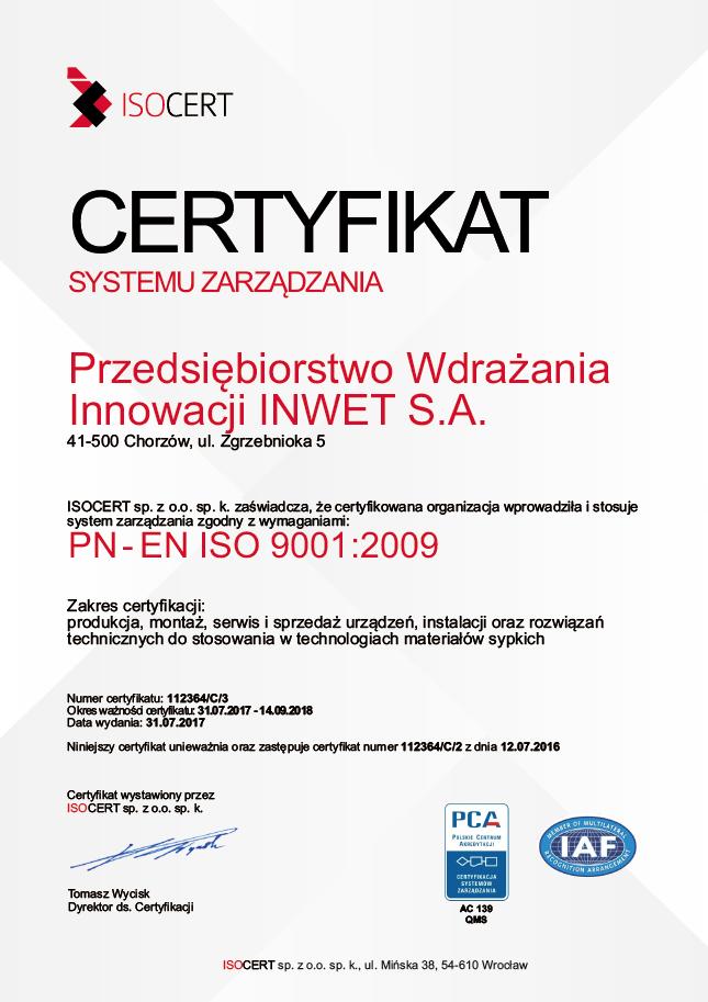 Certyfikat ISO INWET