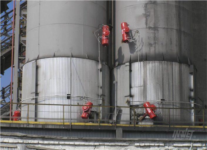 Pulsatory pneumatyczne na silosie węgla